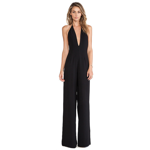 Brand New Jumpsuit women overall Black Backless V Neck women's Halter sexy Hollow jumpsuit waist pants coveralls Rompers D0228