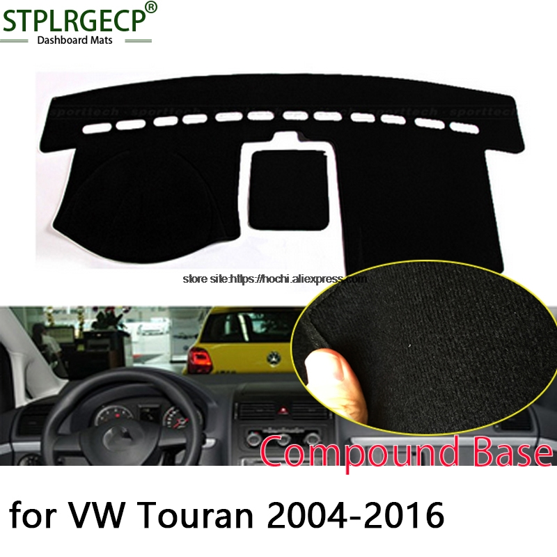 STPLRGECP double layer Black Dash Mat For Volkswagen VW touran Dashmat Black Carpet Car Dashboard Automotive interior Mats car rear trunk security shield shade cargo cover for volkswagen vw touran 2016 2017 2018 black beige