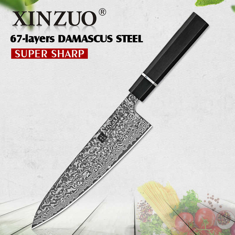 "XINZUO 8.5"" inch Pro Chef Knives Damascus Steel Kitchen Knives Sharp Stainless Steel Vegetable Fish Slicing Knives with Gift Box"