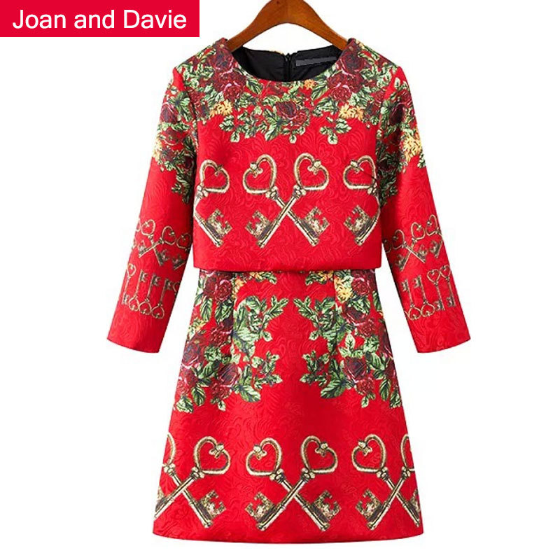 Women's clothing 2015 new fashion spring three quarter sleeve Jacquard fabric print floral dresses elegant high-street red dress - Joan and Davie store