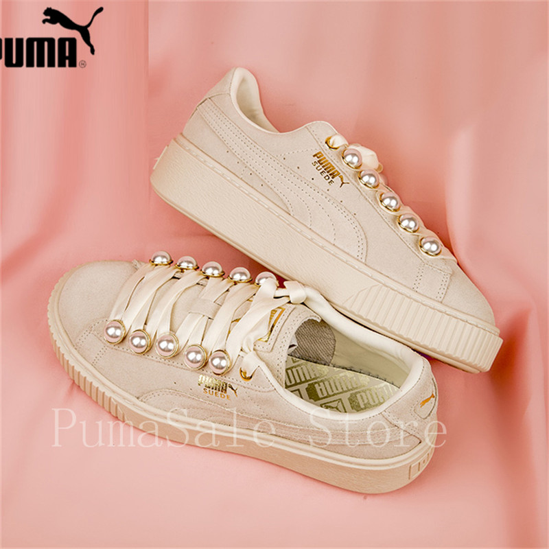 pretty nice 03779 b6920 PUMA Suede Platform Bling Womens Sneakers 36668802 New Arrival Rihanna Pearl  Women Sport Badminton Shoes Beige 35.5-40