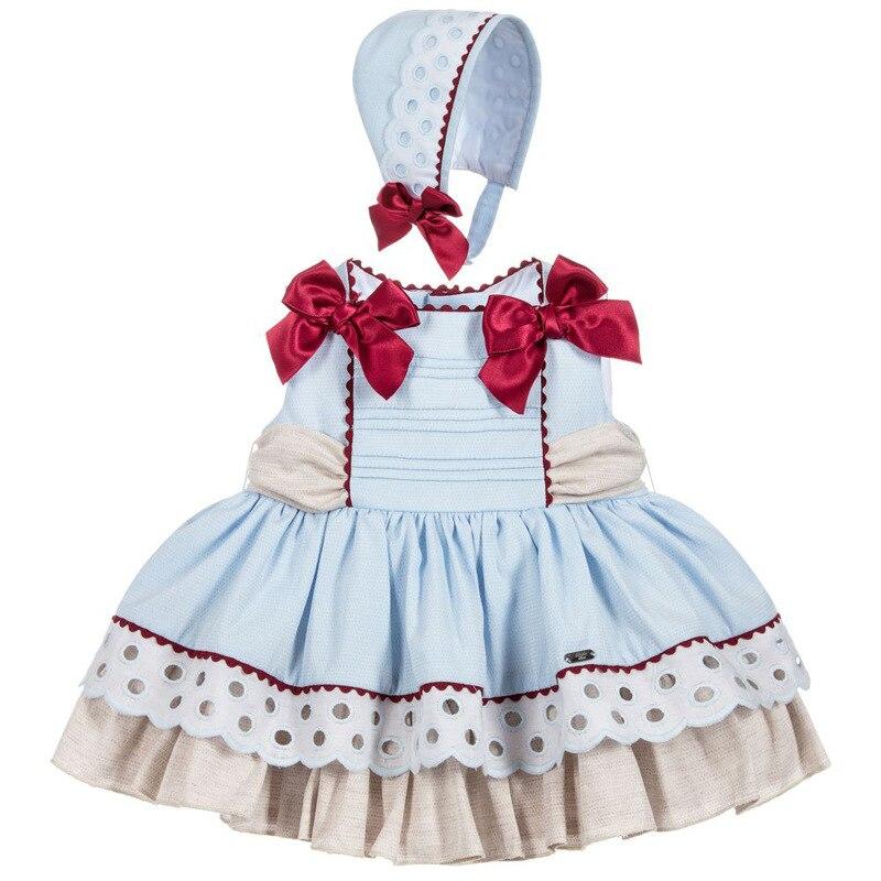 Été espagnol vêtements fille robe Boutique princesse Patchwork arc Vintage robe fête cérémonie vêtements ensemble avec Bonnet G130