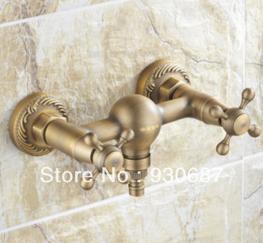 ФОТО Classic Antique Bronze Finish Double Handles Washing Machine Faucet Toilet Faucet Only Mixer Tap Wall Mount