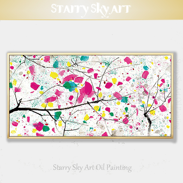 Kedatangan Baru Artis Dilukis Dengan Tangan Bunga Abstrak Minyak