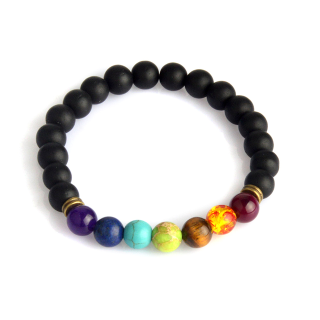 Multicolor Tiger Eye Stone Black Resin Lava Beads Chakra Bracelets Wristband Bangles bijoux Rope Chain Women Men Jewelry 3