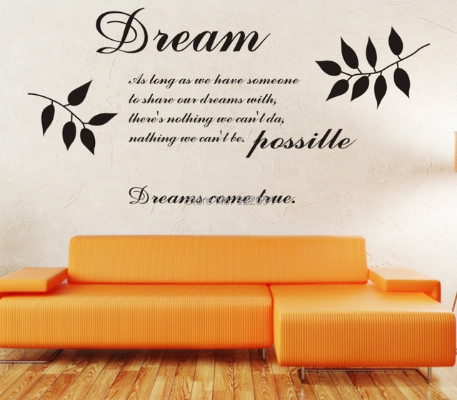 Free Shipping Modern Designer Wallpaper Dream Quotes Dreaming Room Family Decorations Wall Sticker