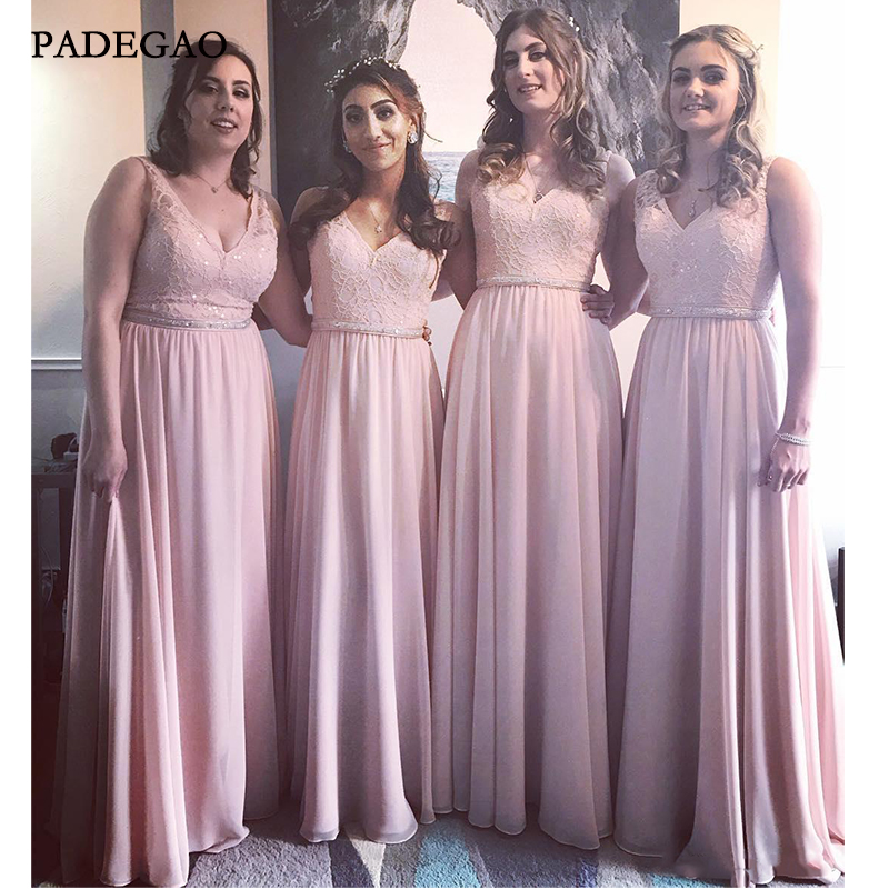 Pink In Stock Bridesmaid Dresses A Line V Neck Long Chiffon Bridesmaid Gowns For Young Girls with Lace Pleat Wedding Guest
