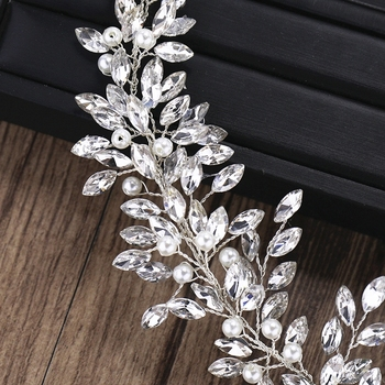 Rhinestone Crystal Headband Bride Hair Accessories Women Crystal Pearl Headband Wedding Bride Hairband Head Jewelry 4