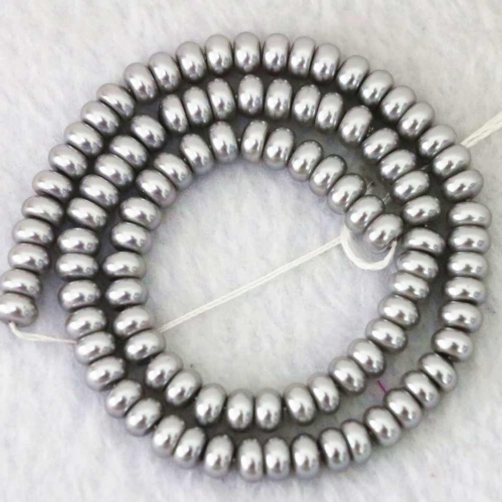 """Imitation pearl two color white and silver-gray 4x6mm 5x8mm rondelle charms diy jewelry 15"""" B1078"""