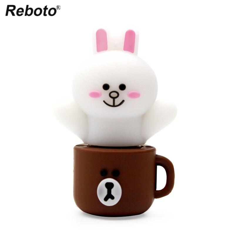 Rabbit USB Flash Drive 4GB 8GB 16GB 32GB 64GB Bear Pen Drive Cup Pendrive Cute USB Stick Animal Memory Flash U Disk