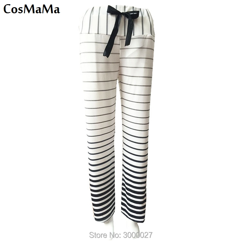 2017 new fashion cosmama sweatpants summer Zebra stripes casual flare culottes pants for women cotton white color trousers