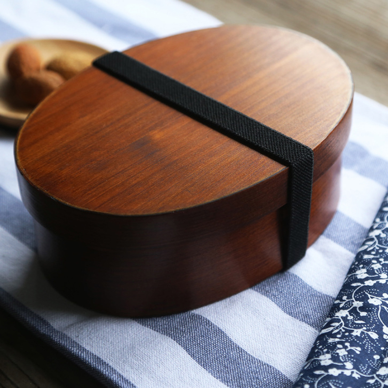 cheap bento boxes Wood Lunch Box Japanese Bento Boxes Handmade Natural Wooden Sushi Box Portable Food Container Dinnerware Set (3)