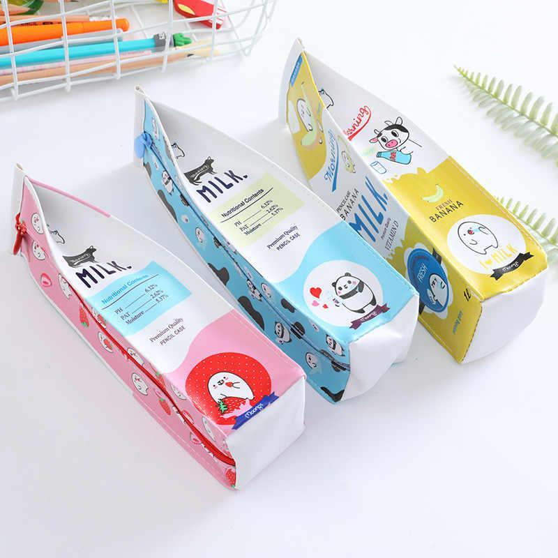 Kawaii Pencil Case milk PU School Pencil Box School Supplies Stationery Pencil Bag