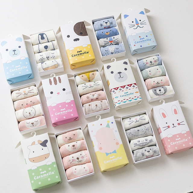 4 Pairs of cute animal patterns short socks