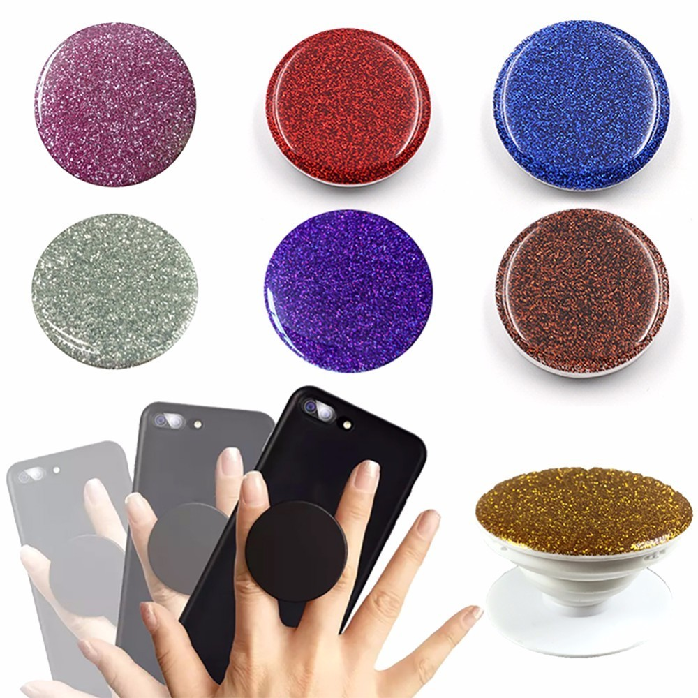 Samsung Mobile Smartphone Stand Holder For iphone Xiaomi Crystal Glitter Telescopic