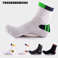 THENANBURONE 5pairs Lot Winter Men S Cotton Socks Fashion Wide Stripes Casual Socks Basketball Thin Ankle