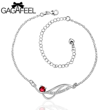 Fashion Women Leg Bracelets Foot Chains Feet Bangle Jewelry silver Girls Gem Crystal Zircon Wedding Multicolor Anklets SA036