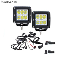 ECAHAYAKU 2Pcs 3 Inch 18W LED Pod Working Offroad Light Square Cube Pods Light For Offroad