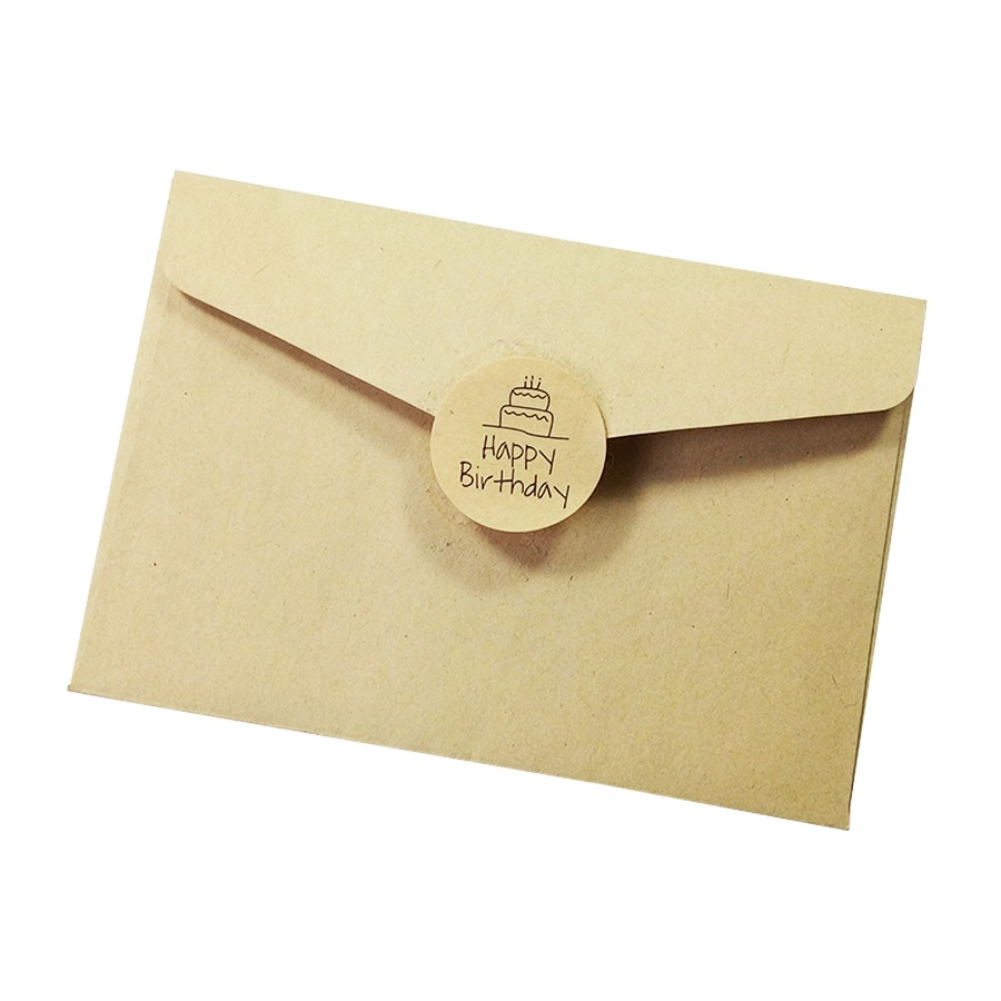 Купить с кэшбэком 100 Pcs/lot Happy Birthday Round Seal Sticker Kraft Paper Adhesive Stickers For Homemade Bakery & Gift Packaging