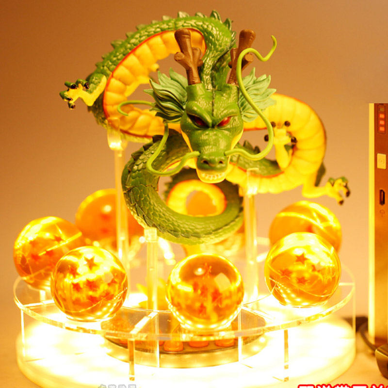 Dragon Ball Z Action Figures Shenron Dragonball Z Figures Set Esferas Del Dragon+7pcs 3.5cm Balls+LED Base Figuras DBZ Toys