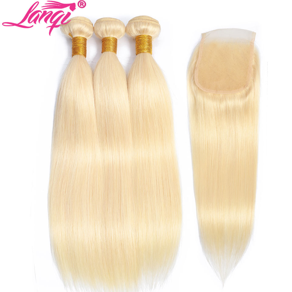 613 Blonde Bundles With Closure Brazilian Straight Human Hair Weave Bundles With Closure Ombre 28 Inch Bundles With Closure