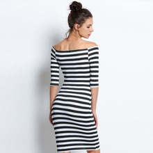 FANALA Women Bodycon Dress Sexy Summer Dress 2017 Off Shoulder Striped Office Cotton Beach Party Clubwear Wrap Dresses MG2200