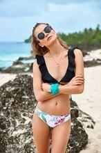Bikini Set 2018 Flounce Halter Padded Top Swimwear Women Sexy Floral Bottom Bathing Suit Monokini Biquini For Junior XL Size