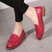 Yinzo для женщин туфли без каблуков Оксфорд обувь женщина пояса из натуральной кожи спортивная обувь дамы броги Винтаж Повседневная обувь для