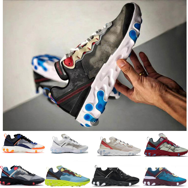 UNDERCOVER x Upcoming React Element 87 Running Shoes Zapatos Pack White Epic Sneakers Brand Men Women Trainer Men Women
