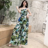 bohemian style beach jumpsuit overalls 2019 Spring and summer flower print wide leg piece trousers womens clothing WL49