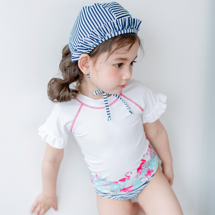 Happy childhood Baby Girls Infants Toddlers Pink Swimwear Bathing Suits Famingo Patterns Swimsuits with Sunhat