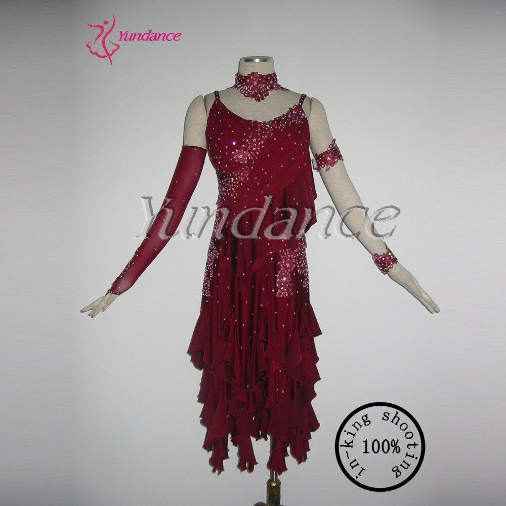 Yundance  Dance Dress Factory Online Store 926715 Sexy Latin Sequins Ballroom Salsa Latin Dance Performance Dress 2016  L-1176