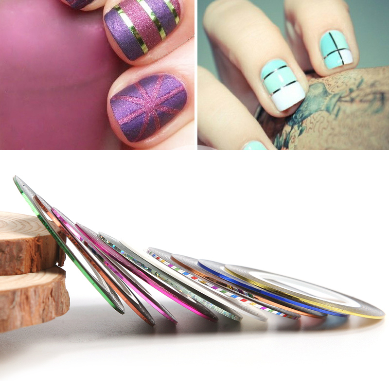 10 Pcs Nail Art Diy Multi-color Rolls Striping Tape Line Stickers Decoration Hot Nail Art Accessories