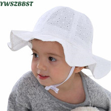 купить Princess Baby Girls Sun Hat Baby Summer Hats Cotton Bucket Caps Child Sun Cap Girls Brim Beach Hat White Pink дешево