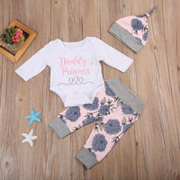 3PCS Floral Newborn Baby Girl Tops Romper +Long Pants Hat Outfits Clothes 0-24M