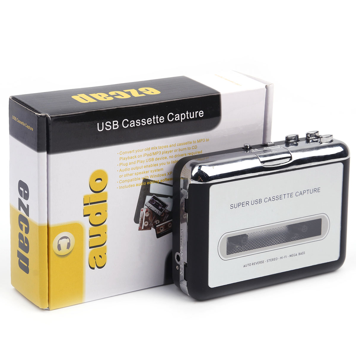 Portable Stand-Alone Cassette Tape To MP3 Converter Stereo Audio Player , Convert Cassette To USB Flash Drive With Earphones