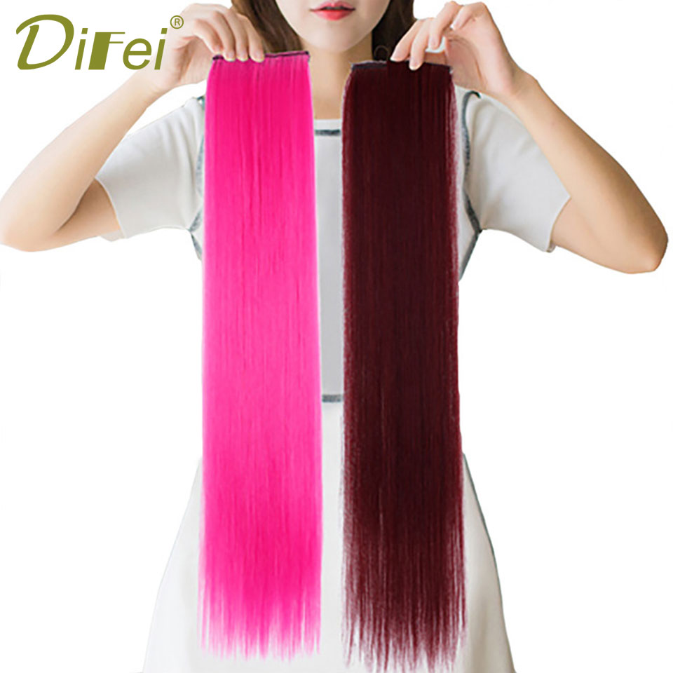 DIFEI 16 Colors 1 Piece 2 Clip-in One Piece Hair Extensions Pure Color Long Straight Synthetic Heat Resistant Hair