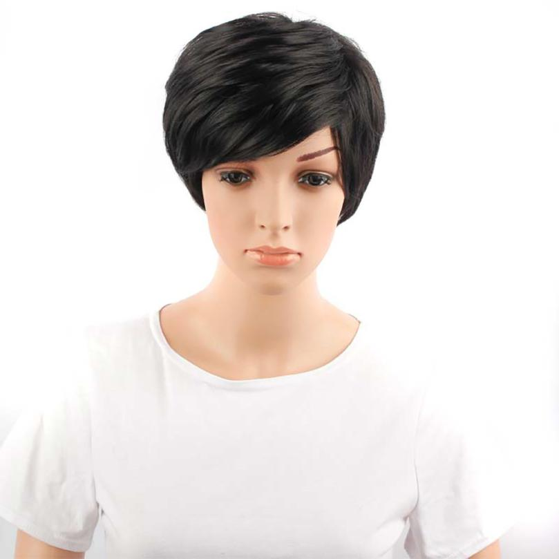 Womens Fashion Black Hair Lace Front Wig Straight Synthetic Wigs 0704