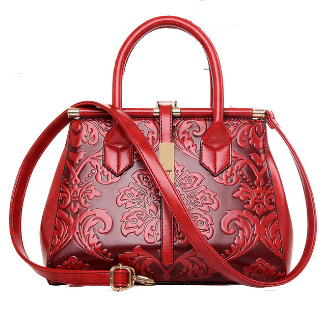 df5c32033eb103 Embossed Flowers Ladies Bags Vintage Fashion Women Bags Chinese Style PU Leather  Women Handbag Shoulder Bag