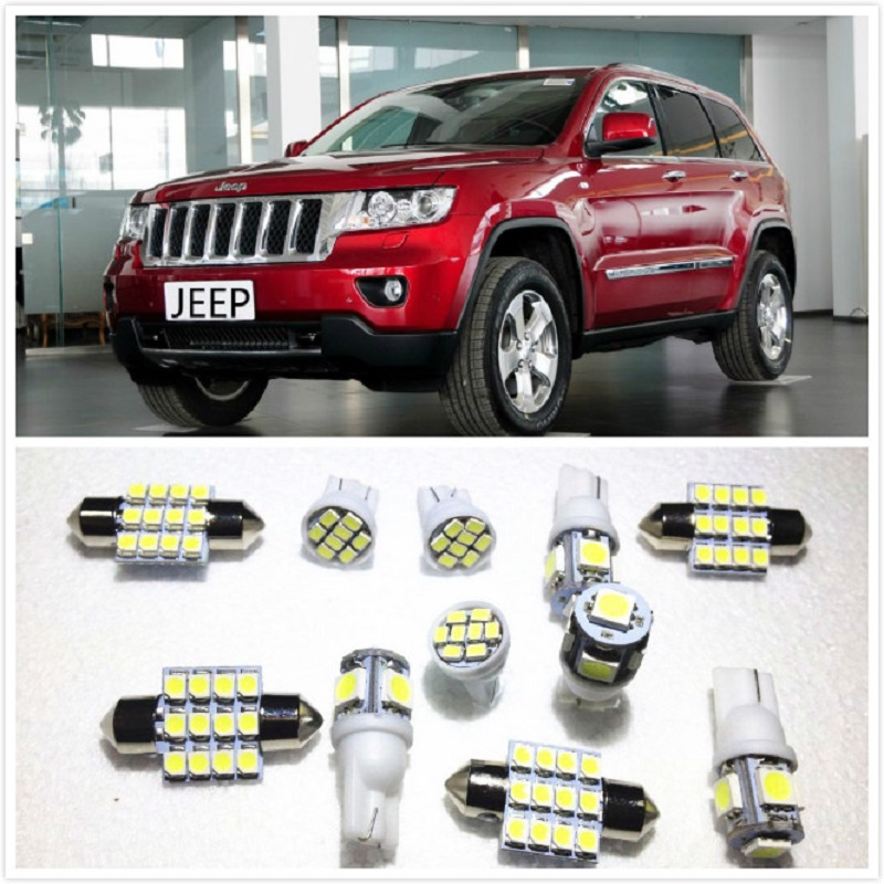 11 set White LED Lights Interior Package 10 & 36mm Map Dome For Jeep Patriot <font><b>Cherokee</b></font> <font><b>Grand</b></font> <font><b>Cherokee</b></font> Commander Wrangler1998-<font><b>2019</b></font> image