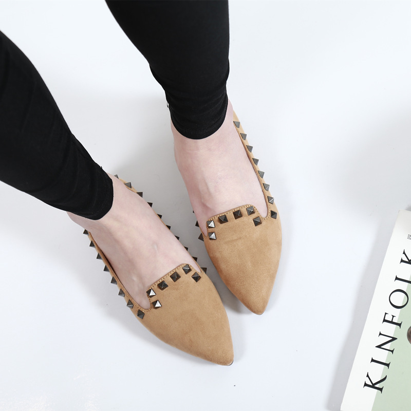2017 brand spring women fashion Flock Pointed Toe casual shoes Students oxfords leather shoes Rivet shallow shoes big size XA-51 new 2017 spring summer women shoes pointed toe high quality brand fashion womens flats ladies plus size 41 sweet flock t179