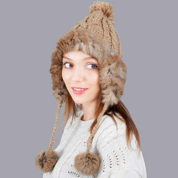 Real Rabbit Fur Knitted Hat Pom Poms Winter Hat For Women To Protect Ears Warm Girls Hat Thick Feminino Beanies Cap