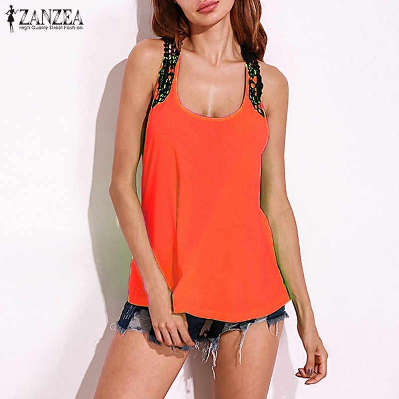 Богемный Летний жилет кружева крючком дамы сексуальные безрукавки 2019 ZANZEA женщины открытая пляжная блузка на бретельках Bluas рубашки