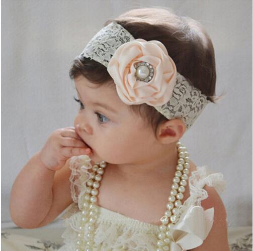 2017 Cute Girl Elastic Newborn Headwear Flower Headband Pearl Hair Accessories Kids Headwear halloween party zombie skull skeleton hand bone claw hairpin punk hair clip for women girl hair accessories headwear 1 pcs