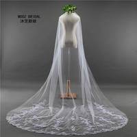 Bridal Veils New 2017 Real Images MOOZ BRIDAL Accessories Lace Edge Appliques 3M Length 1.8Meters Widht Elegant 1T Wedding Veil