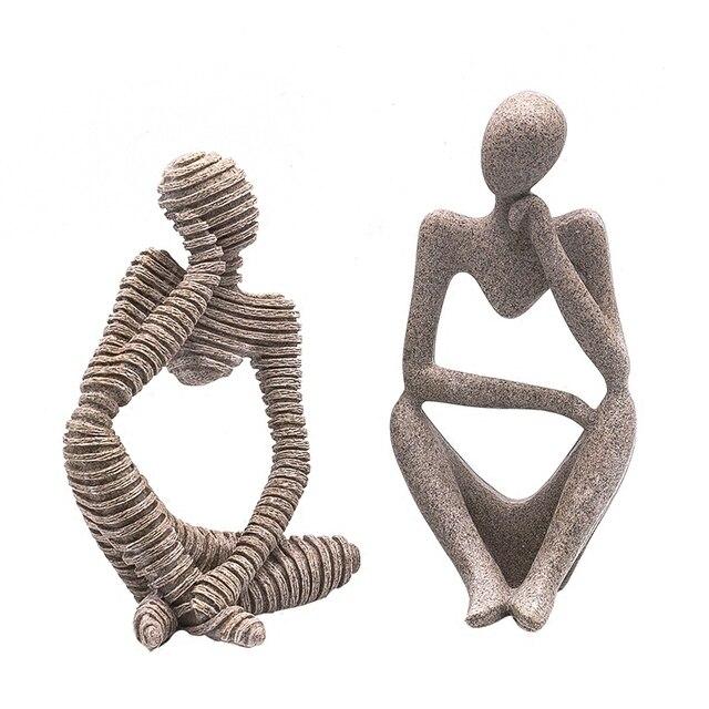 Us 2198 Naturalne żywicy Piaskowca Ręcznie Rzeźbione Figurki Nowoczesne Rzeźby Abstrakcyjne Myśliciel Znaków Rysunek Domu Dekoracyjne Rzemiosło 3