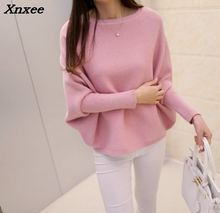 2018 spring  Korean new womens low collar loose solid size sweater pullover BianFuShan female Xnxee