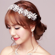 FORSEVEN Flower Crystal Bride Hair Jewelry Silver Women Rhinestones Pearl Headbands Hairwear Fashion Wedding Hair Accessories
