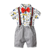 Baby Kid Boys Outfit Short Sleeve Print Clothes Gentleman Bow Tie Tops+ Striped Bib Pants Baby 2PCS Set