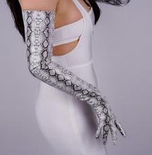 Kadın yılan derisi baskı suni pu deri uzun eldiven kadın seksi parti elbise moda uzun eldiven 70cm R1064